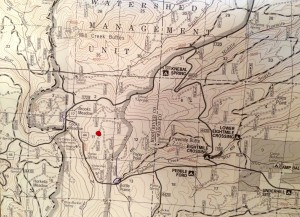 Red dot marks the location of 10-15 acre fire near popular 44 trails trailheads